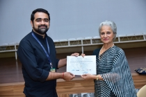 24 - FPRSI Student Sidharth Mirchandani being awarded the FIAF certification by Waheeda Rehman