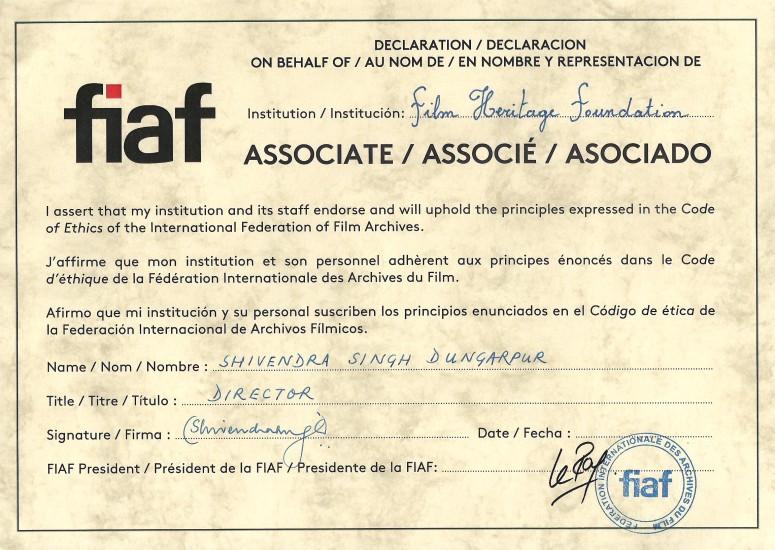 FHF - FIAF CERTIFICATE