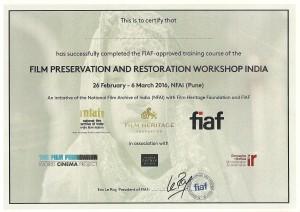 FPRWI 2016 - FIAF Certificate