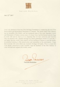 Letter from Shree Amitabh Bachchan Ji supporting FPRWI 2017
