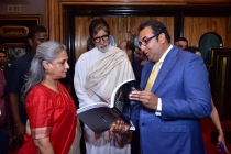 2) Jaya Bachchan & Amitabh Bachchan with Shivendra Singh Dungarpur after the book launch